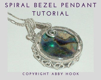 Spiral Bezel pendant, Wire Jewelry Tutorial, PDF File instant download with bonus chain tutorial
