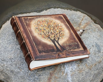 Personalized Photo album leather Wedding album with two gold Trees of Life Classic Album