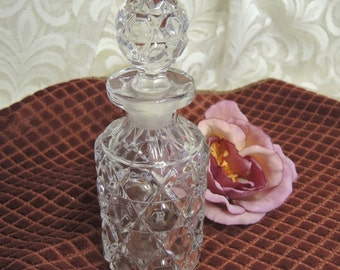 Vintage Leaded Cut Crystal Perfume Bottle - Leaded Glass Bottle - Ground Stopper - 6 Oz. Bottle