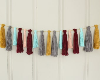 CLEARANCE - Yarn Tassel Garland No. 6 in Saffron, Grey, Pastel Blue, Wine, and Peach - Wall Hanging - Party Decor - Photo Prop