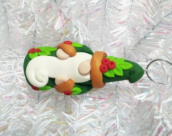 Polymer Clay Christmas Ornament - Santa Gnome Christmas Ornament - Woodland Gnome Ornament - Garden Gnome Ornament - Stocking Stuffer - 9414
