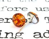 Topaz Swarovski crystal stud earrings, 7mm ochre studs, bridal jewelry, gold brown rhinestones