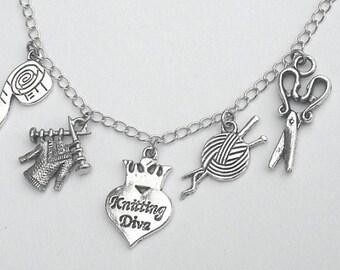 Knitter charm necklace, knitting bracelet or knitting necklace, gift for knitter, love to knit bracelet, Knitting Diva charm, gift for her