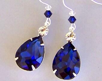 Navy blue earrings, large deep blue pear shape glass earrings, midnight blue teardrop, cobalt statement, deep sapphire blue bridal, indigo