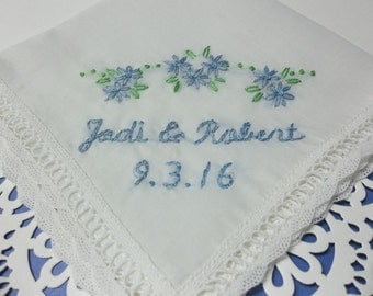 something blue, wedding handkerchief, hand embroidered, names and date, bridal gift, gift for bride, bouquet wrap, bride hanky, hankie,