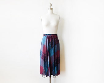 vintage plaid skirt, 80s pleated plaid skirt, small medium blue and purple midi skirt