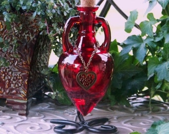 "WITCH'S HEART™ ""Artisan Alchemist""™ Love Spell Scarlet Red Bronze Heart Amphora Potion Bottle, Corked Glass Vessel w/ Sturdy Metal Stand"