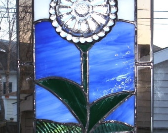 Spring Daisy Recycled/Upcycled Dish Stained Glass Panel Suncatcher