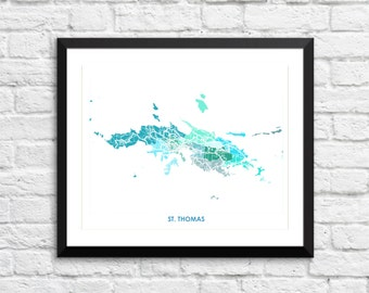 St Thomas Art Map Print.  Color Options and Size Options Available.  Map of Saint Thomas U.S. Virgin Islands