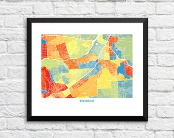 Riverside Map Print.  Choose the Colors and Size.  California Art.
