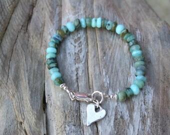 Peruvian Opal Bracelet, October Birthstone Jewelry, Rustic Bracelet