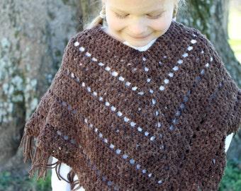 Crochet Poncho PATTERN - Bohemian - Poncho Pattern - fringes - Sizes 2/3, 4/6, 8/10, 12/14, adult S, M, L,XL