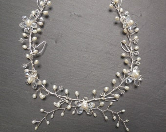 Cherry Blossom and Pearl Necklace in Silver - Sterling Silverr