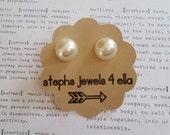 Ivory Flatback Pearl Earrings
