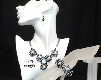 Sparkling Black and Crystal Flower Statement Necklace, Earrings, Bracelet, Matching Jewelry Suite, Unique Handmade Jewelry Gifts for Women