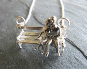 Couple on a Park Bench Necklace in Sterling Silver