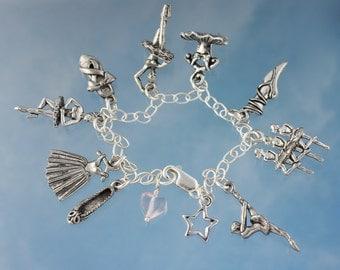 Ballerina Bracelet - pewter ballet charm on sterling silver bracelet - ballet slippers, dancers, dresses - Free shipping USA