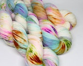 Hand Dyed Speckled Sock Yarn - SW Sock 80/20 - Superwash Merino Nylon - 400 yards - Float on By