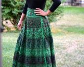 Wrap around skirt, Wrap skirt,Long Printed Wrap Skirt,Handmade,Indian Ethnic,Free size warp skirt,Hippie Skirt, Green wrap skirt,wrap skirt
