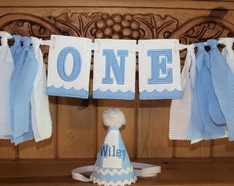 High Chair Birthday Banner With Matching Hat