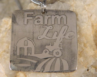 Farm Life Etched Farm Scene Necklace
