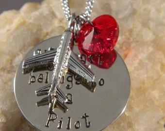 My Heart Belongs to a Pilot Handstamped Necklace with Red Crystal Heart