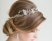 Wedding Hair Vine,  Bridal Head Piece, Bridal Hair Accessory, Ribbon Headband