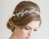 Wedding Hair Vine,  Bridal Headpiece, Bridal Headband, Pearl Crystal Vine, Wedding Ribbon Headband