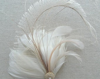 Wedding Fascinator, Bridal Feather Headpiece, Feather Fascinator, Wedding Hair Accessory