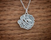 Celtic Mermaid - double sided - STERLING SILVER - (Charm, Necklace, or Earrings)