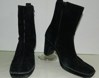 8 M Linea Paolo Black Suede Leather Boots Side Zip Winter Dress Boots