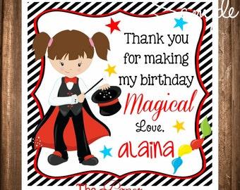 Magician Gift Tags, Magician Hang Tags, Girl Magician Tags, DIY, Digital file, Magic Birthday Party