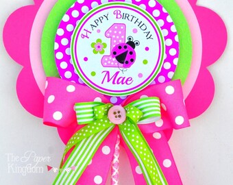 Ladybug Centerpiece, Luxurious XL Birthday Centerpiece in Hot Pink, Light Pink and Lime, Ladybug Birthday Party Decorations