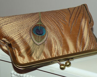 Peacock Feathers Embroidered Silk Luxury Clutch/Purse/Bag..Bridal Gift..Wedding..Gold/Teal..Silver..Ivory..Free Monogram/Ready to Ship