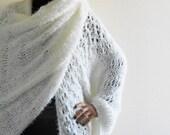 White ONE SLEEVE knit WRAP for Women Big Unique Winter Wedding Pompom Bridal Shrug