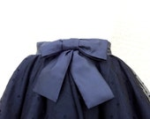 SKIRT Dotted Black Tulle Tutu with Satin Bow Custom Personalized