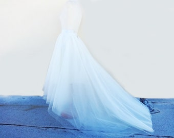 WEDDING SKIRT /Robe de mariée / with TRAIN High-Low Assymetrical White Tulle Custom with Satin Lining Bridal Separates