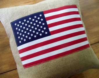 free shipping - burlap American flag pillow - red white and blue - americana - patriotic - summer - home decor - july 4th - fourth of july