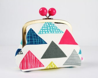 Metal frame clutch bag - Colorful triangles on white - Color bobble purse / Modern japanese fabric / Geometric / lime pink turquoise grey
