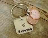 Penny Keychain,Blessed Keychain,Lucky Penny Key Chain,Childrens Initals,Child Birth Year,Hand Stamped,Mom Keychain,Grandma Keychain,Dad Gift