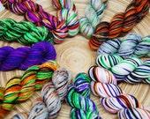 Halloween Mini Skein Set - Hardcore Sock Yarn - 460 Yards - Superwash Merino Nylon