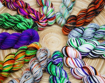 Halloween Mini Skein Set - Hardcore Sock Yarn - 460 Yards - Superwash Merino Nylon