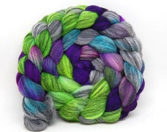 "Handpainted Merino Silk Swirl Roving - ""Daydreaming"" - 4 oz Purple Green Turquoise"