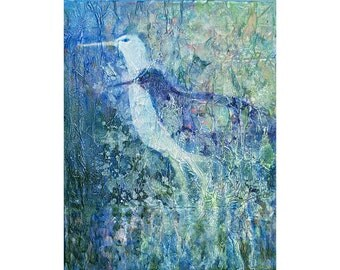 Water Birds, Original Painting, Contemporary Design, Acrylic Collage, Textured Painting, Watermedia Art, Blue Color, Sandpiper Birds, 14 x11