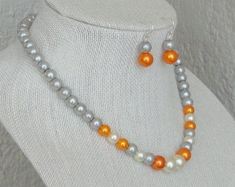 a BRIDESmaid Gift Orange & Gray Pearl Strand, BRIDAL,Orange Gray WEDDing, Maid Of Honor,Pearl Necklace Set By DYEnamite