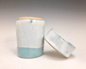 Pale Blue Horizon; Small Stoneware Lidded Vessel; Functional Ceramics; Handmade (Sold Seperately)