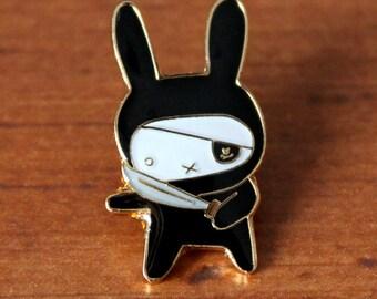 Ninja Bunny Lapel Pin