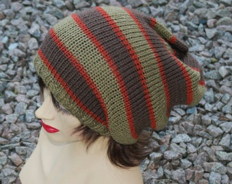 """Oversized Slouchy Beanie or Tube Hat, Knitted,   Khaki Brown Rust 22"""" - 24"""""""