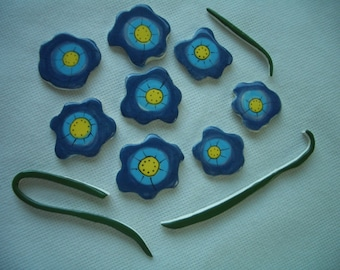 CH11 - 11 pc BLUE FLOWERS w Stems  - Ceramic Mosaic Tiles