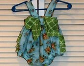 One of a Kind Blue Floral Baby Romper in Size Newborn to 3 months